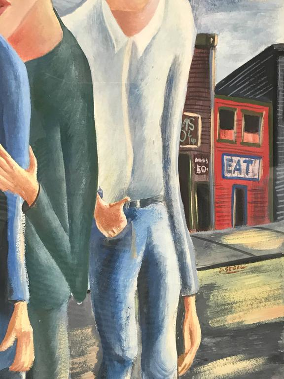 Three Men Gouache Painting by David Segel In Excellent Condition For Sale In Culver City, CA