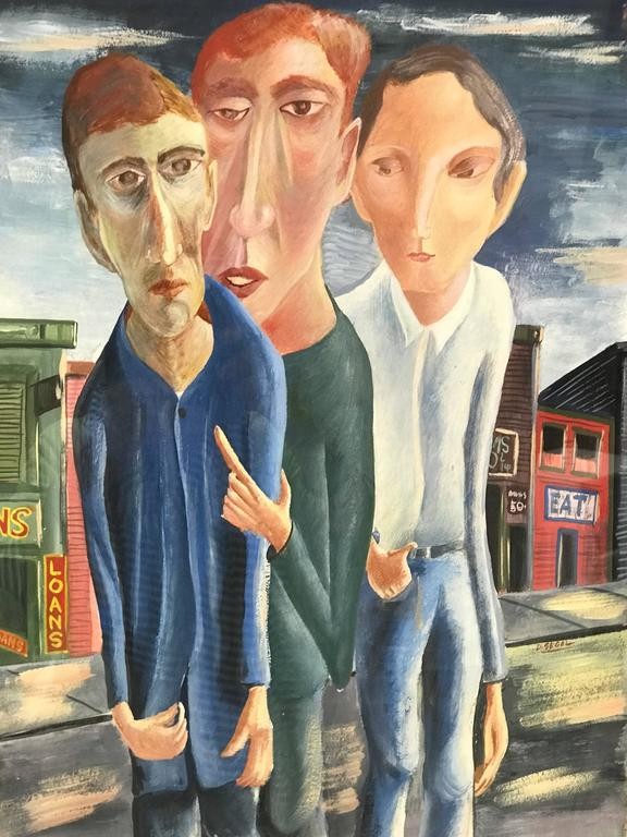 Mid-Century Modern Three Men Gouache Painting by David Segel For Sale