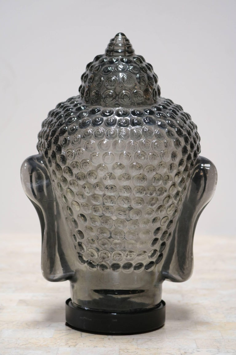 Smoked Glass Buddha Head Sculpture At 1stdibs