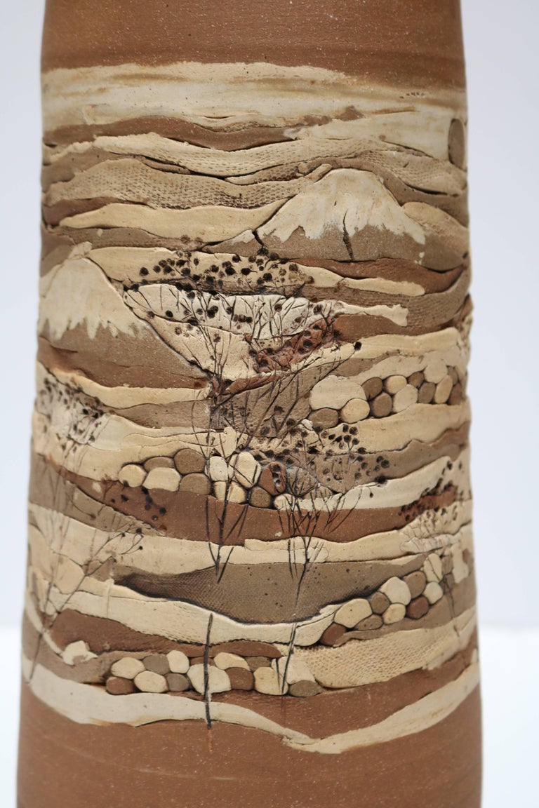 Rare Californian Ceramic Table Lamp with Etched Landscape Motif 7