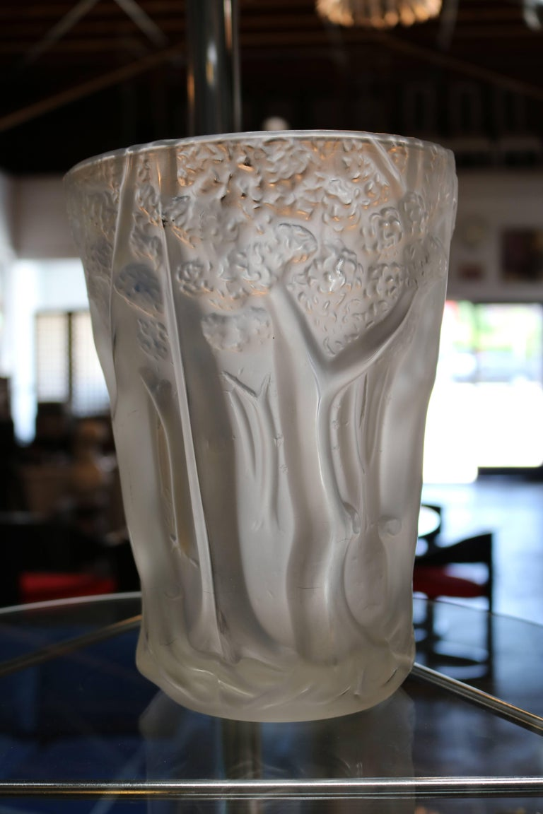 Frosted molded glass vase with forest scene in relief for sale at mid century modern frosted molded glass vase with forest scene in relief for sale reviewsmspy