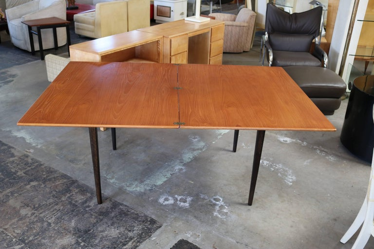 Flip-Top Teak Dining Table by DUX In Excellent Condition For Sale In Los Angeles, CA