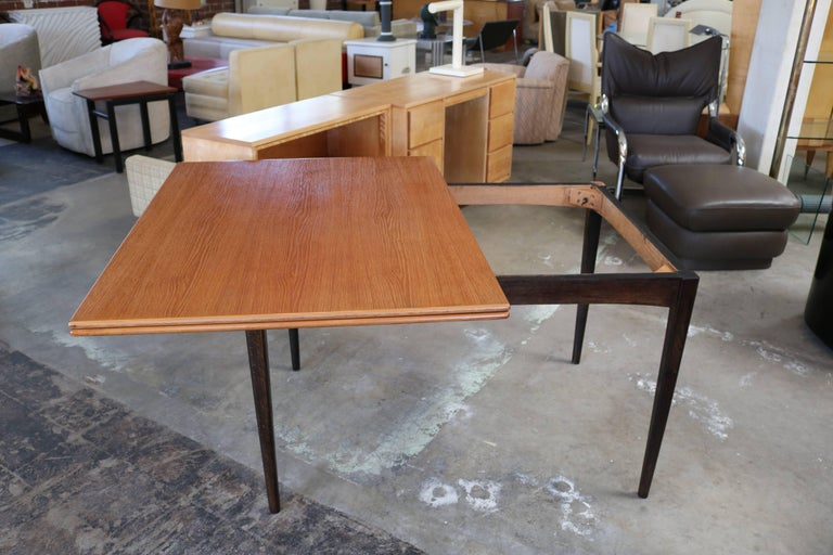 Mid-Century Modern Flip-Top Teak Dining Table by DUX For Sale