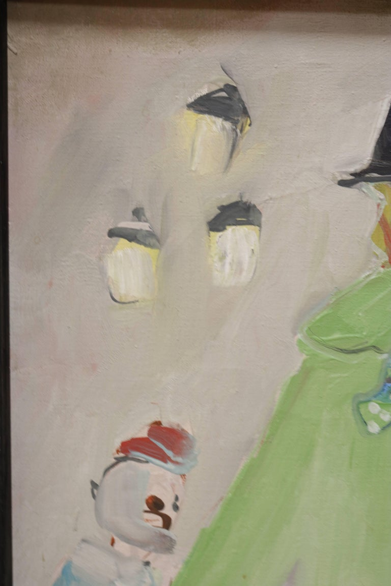 Mid-Century Modern Small Painting of Clown and Circus Scene For Sale
