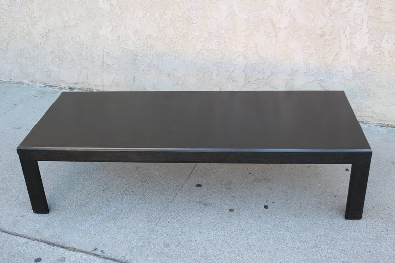 Mid-Century Modern Black Stained Parson Coffee Table in the Manner of Edward Wormley For Sale