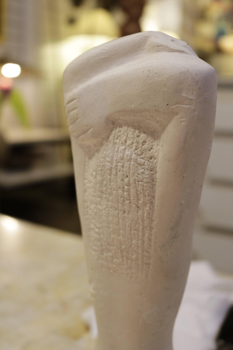 Ancient Greek Kore Style Sculpture on Marble Base For Sale 1