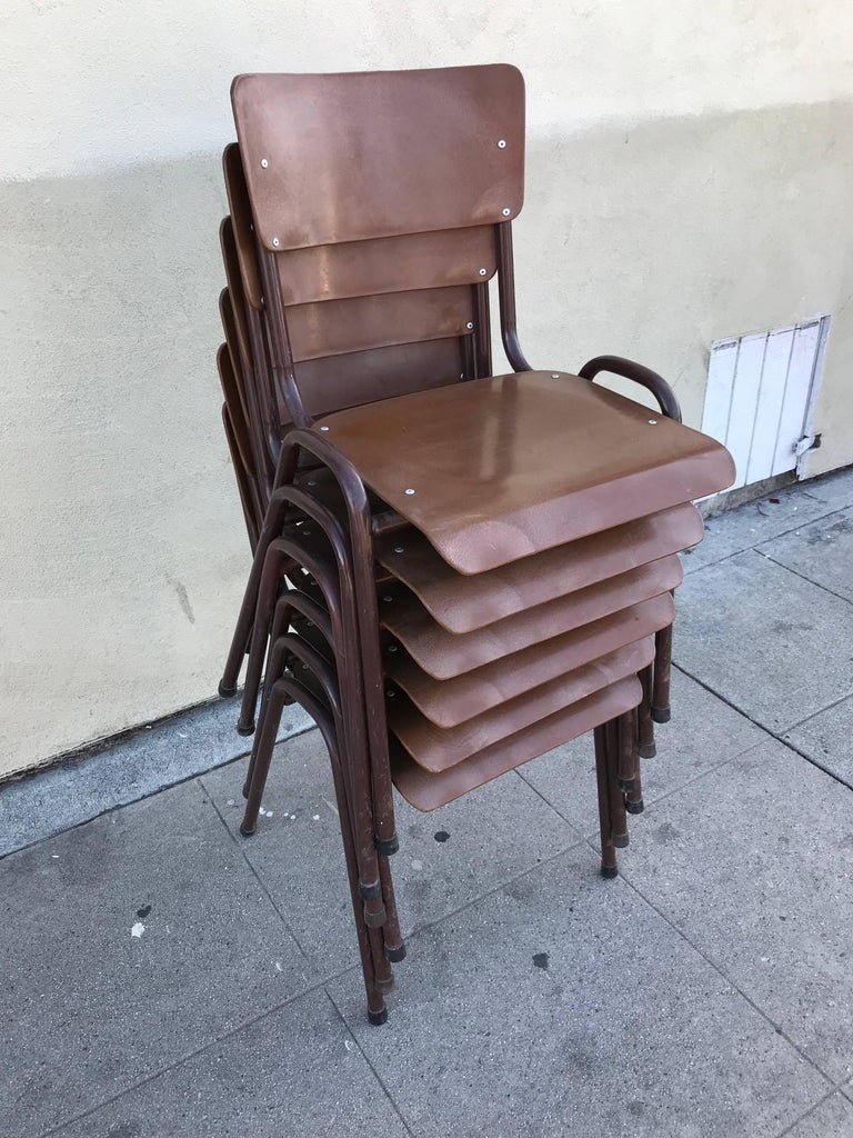 Mid-Century Modern Set of Six 1950s Danish Stacking Chairs For Sale