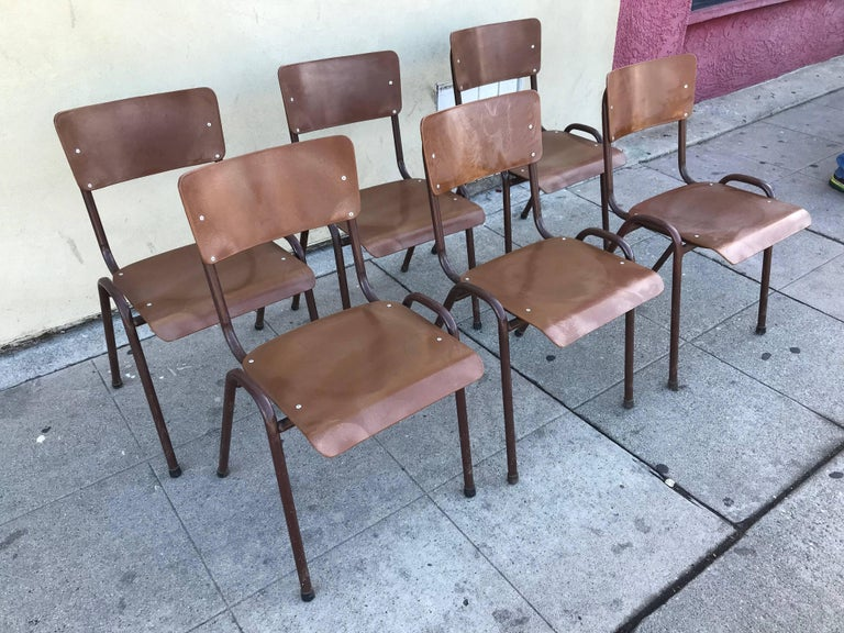 European Set of Six 1950s Danish Stacking Chairs For Sale