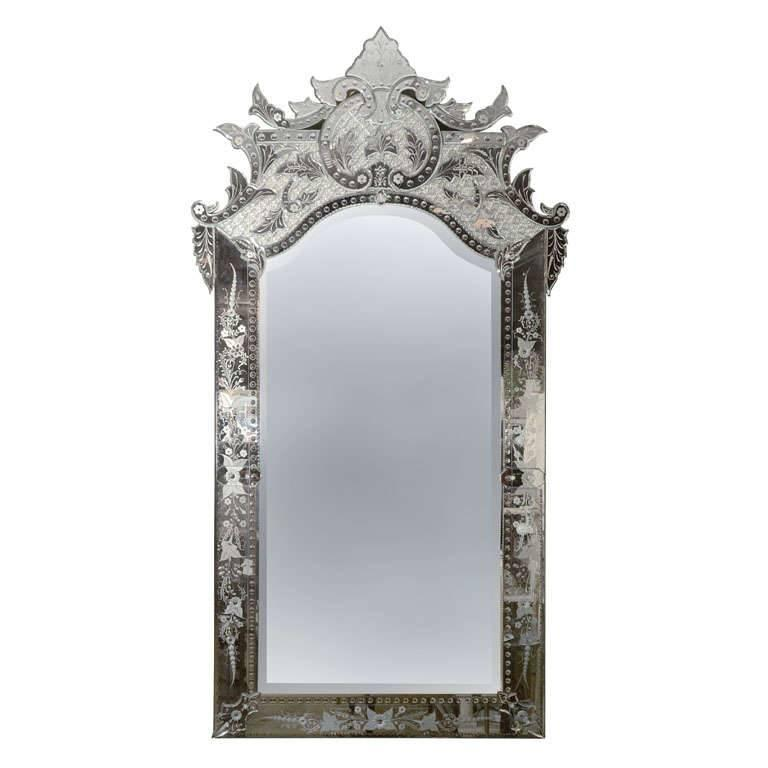Italian venetian glass large mirror etched clear glass for Full length glass mirror