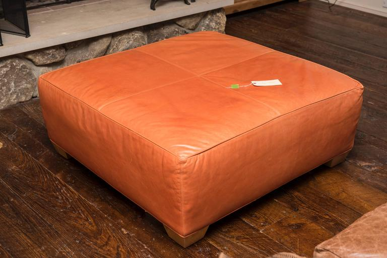 Late 20th Century Tangerine Leather Ottoman For Sale