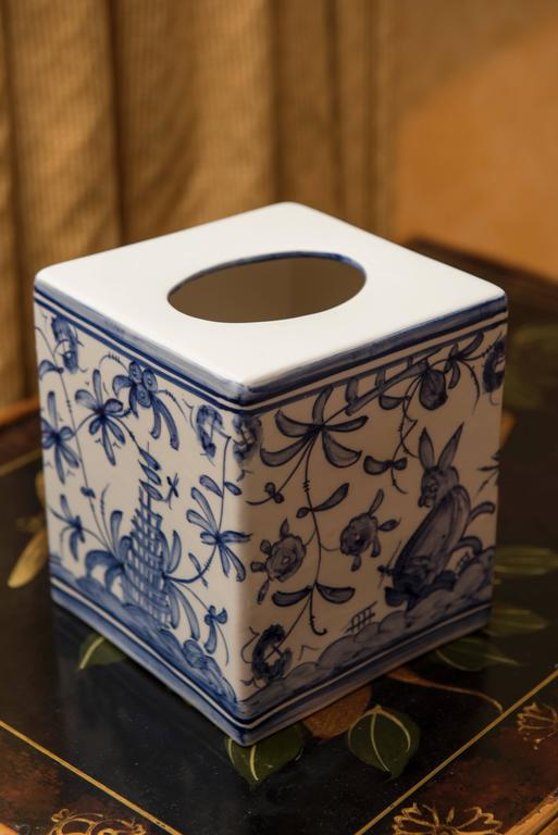 Blue And White China Tissue Box For Sale At 1stdibs