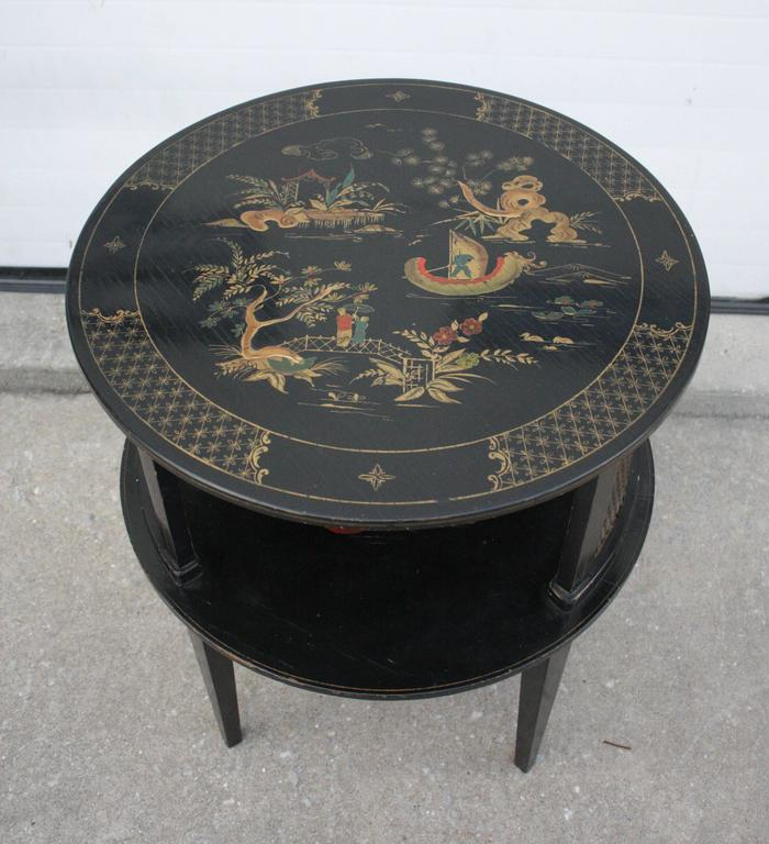 1930s Round Black Hand-Painted Side Table 3