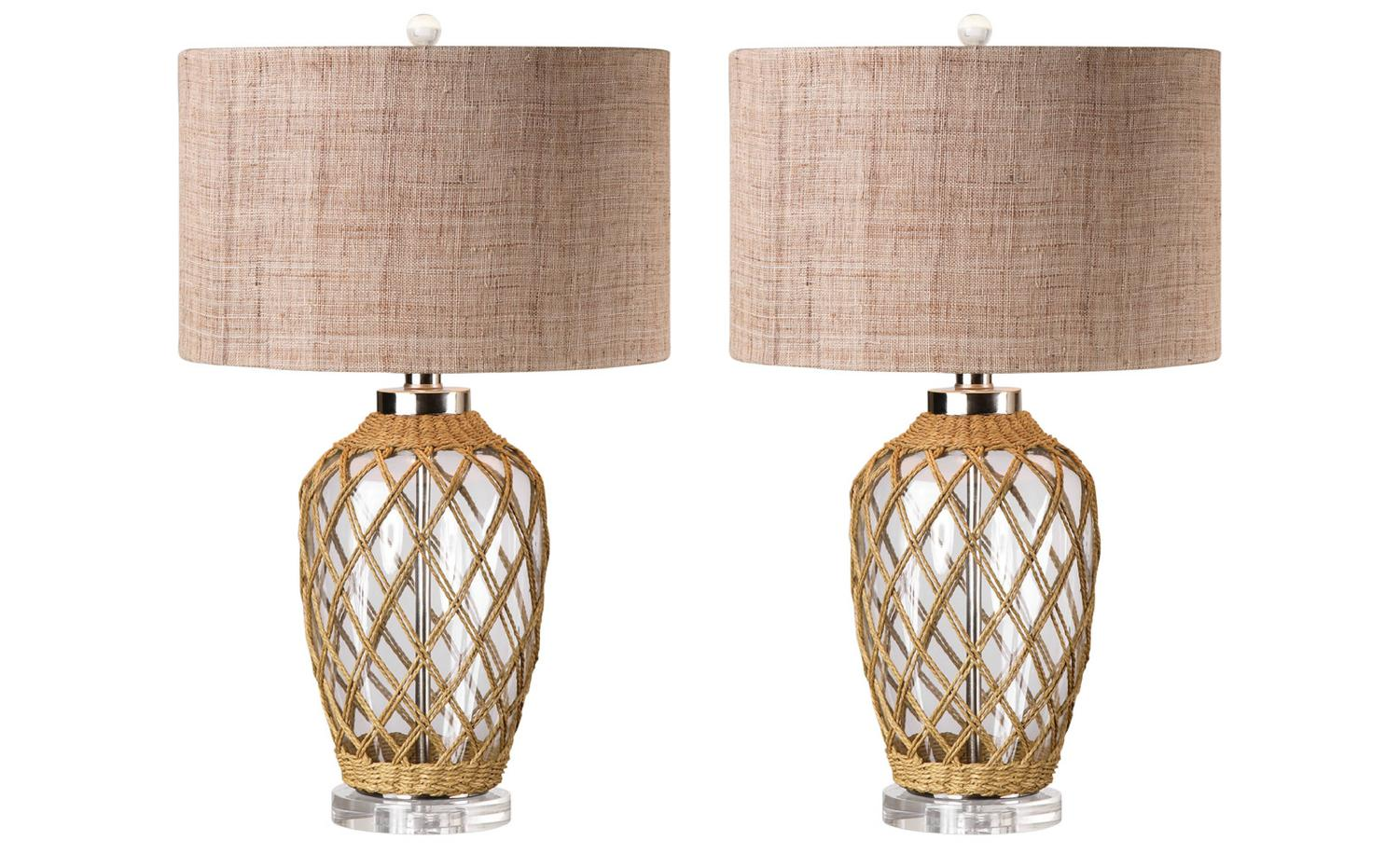 wrapped glass lamps nautical beach house lamps for sale at 1stdibs. Black Bedroom Furniture Sets. Home Design Ideas