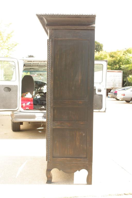 1950s French Ebonized Wood Distressed Armoire At 1stdibs