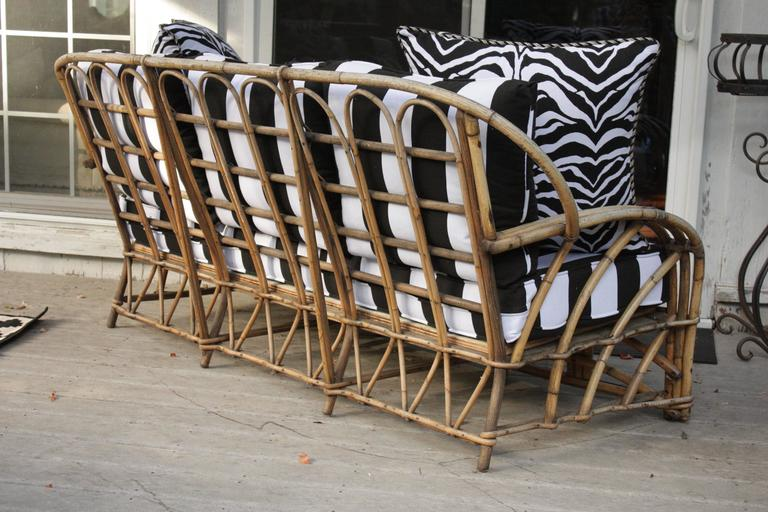 1960s Modern Bent Bamboo High Life Outdoor Three-Seat Sofa, Bengal Stripe Fabric In Excellent Condition For Sale In Southampton, NY