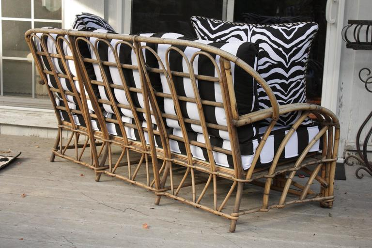 Mid-20th Century 1960s Modern Bent Bamboo High Life Outdoor Three-Seat Sofa, Bengal Stripe Fabric For Sale