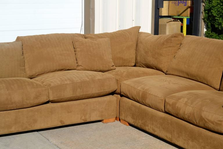 Nutmeg Suede Sectional In Good Condition For Sale In Southampton, NY