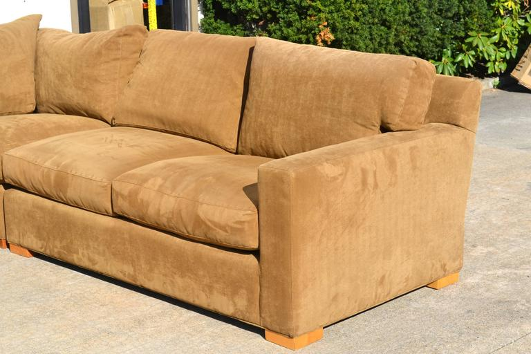 Contemporary Nutmeg Suede Sectional For Sale