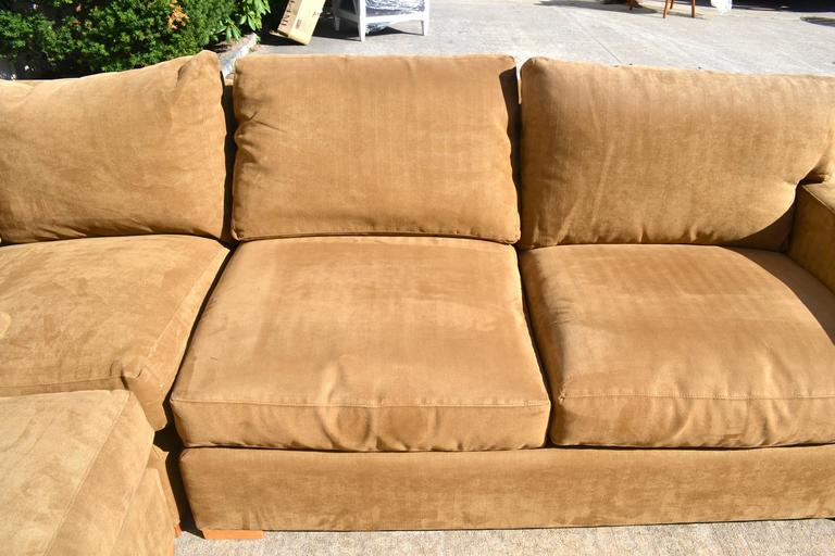 Nutmeg Suede Sectional For Sale 1