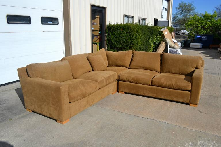 Nutmeg Suede Sectional For Sale 4