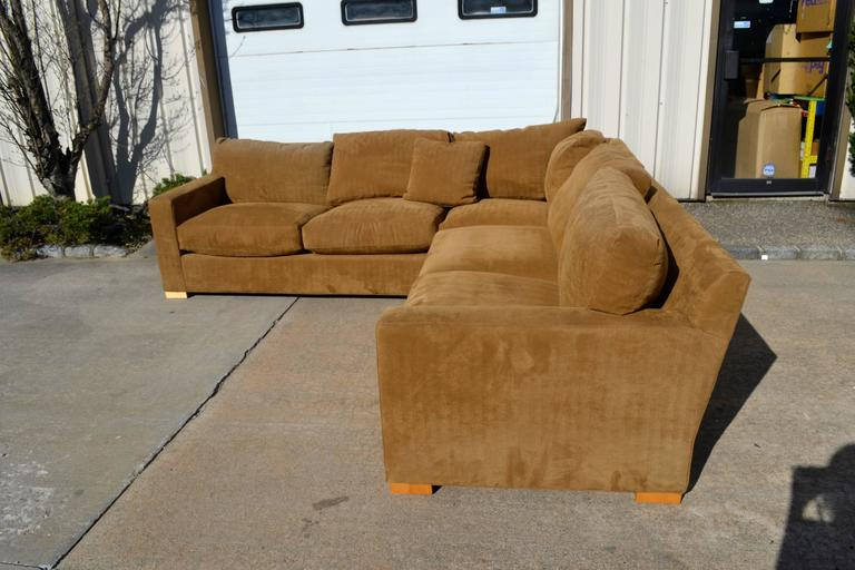 Nutmeg Suede Sectional For Sale 5