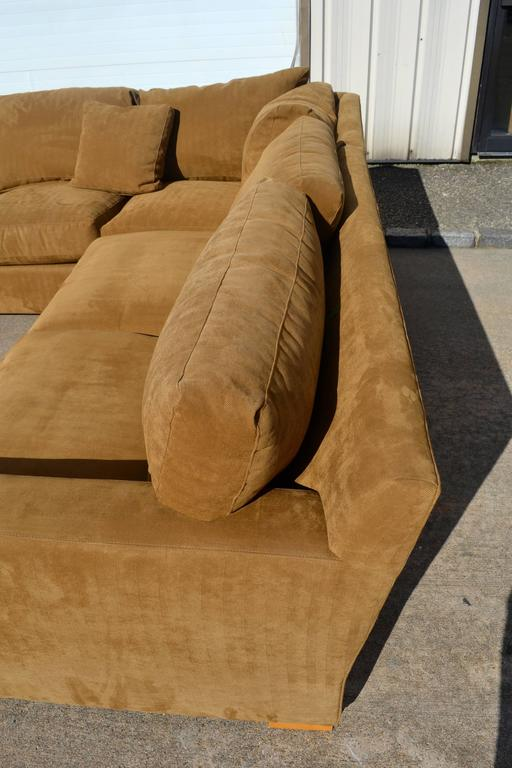 Nutmeg Suede Sectional For Sale 6