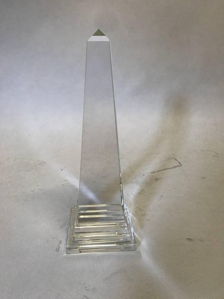 Crystal obelisk, fabulous on a book case, coffee table or a nightstand.