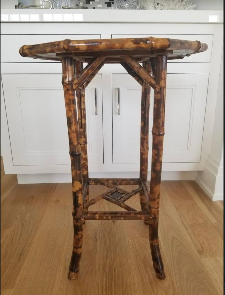 English Antique Chinoiserie Scorched Bamboo Side Table For Sale