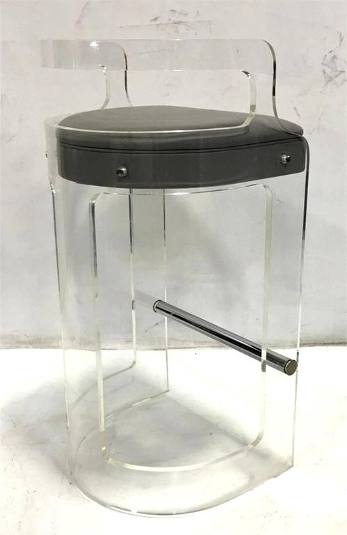 Mint Pair Of Lucite Bar Stools By Hill Mfg At 1stdibs