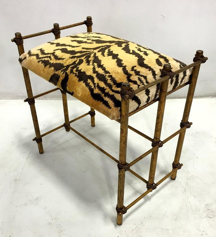Italian Gilt Tole Bench With Scalamandre Le Tigre Cushion