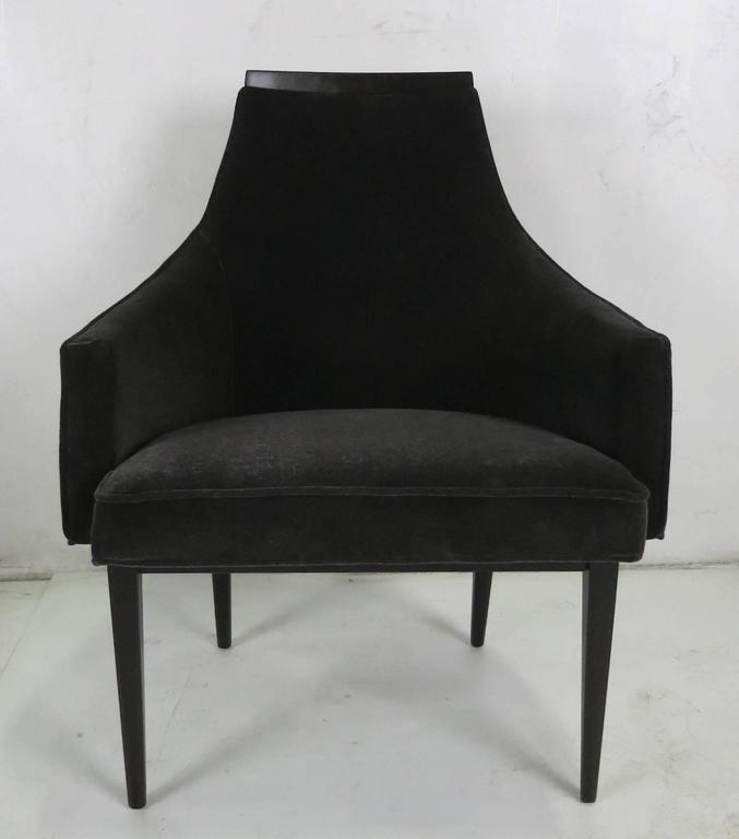 Handsome occasional chair with mahogany frame meticulously refinished in dark brown lacquer and upholstered in luxurious charcoal grey velvet.  All work done with painstaking quality at our in-house workroom.