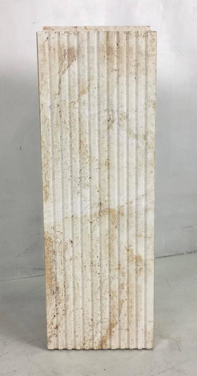 Modern Dramatic Italian Travertine Display Pedestal For Sale