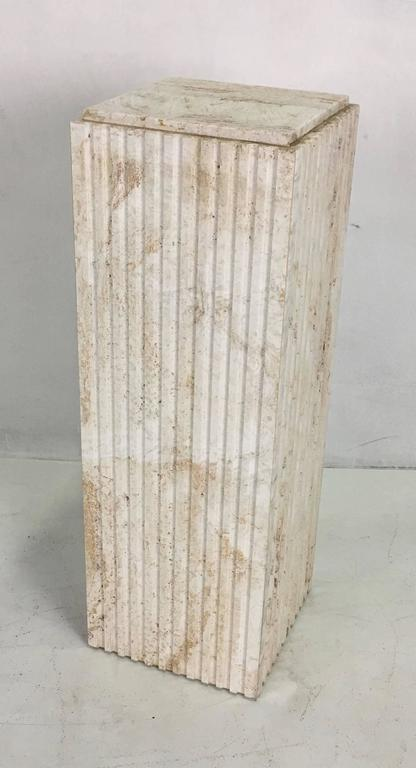 Late 20th Century Dramatic Italian Travertine Display Pedestal For Sale