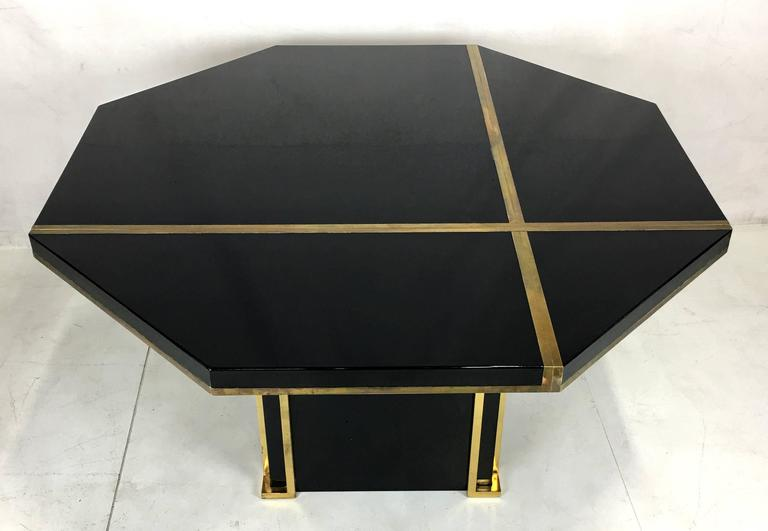 Lacquer And Brass Extendable Dining Table By Jean Claude