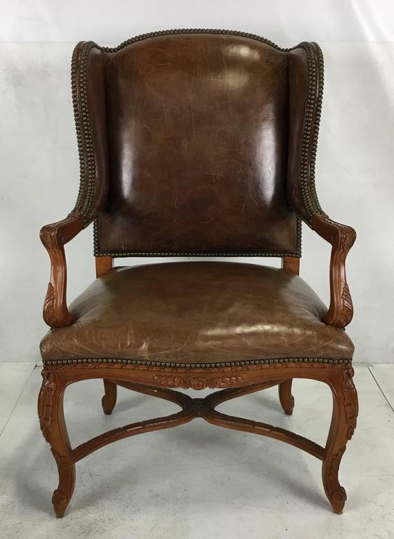 Wonderful Ralph Lauren Spencer Wing Chair Upholstered In Natural Saddle  Leather. The Frame Is In