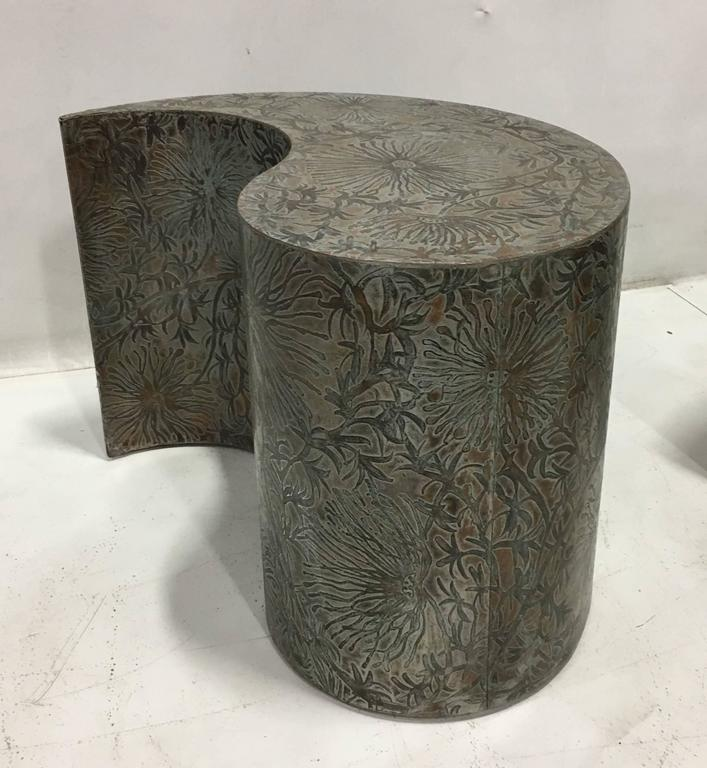 Modern Pair of Etched Bronze Comma Form Side Tables For Sale