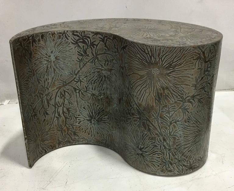 American Pair of Etched Bronze Comma Form Side Tables For Sale