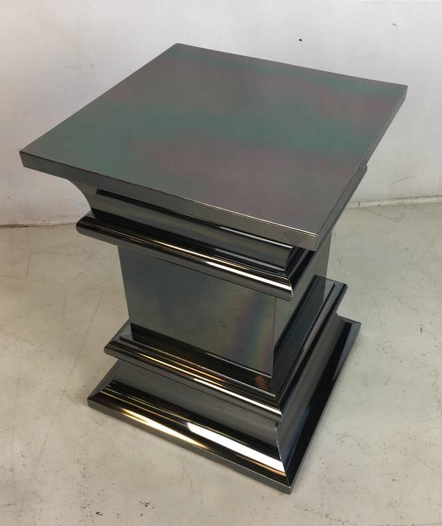 Modern Pair of Gunmetal Chrome Column Form Side Tables For Sale