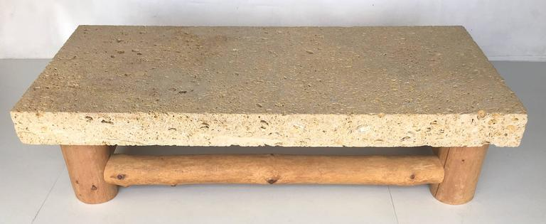 Organic Modern Fossil Stone Coffee Table by Michael Taylor For Sale
