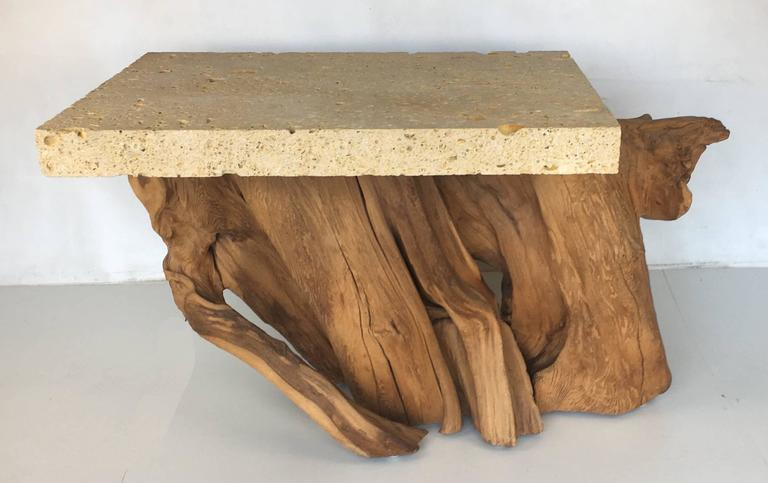 Pair of Iconic Fossil Stone Side Tables by Michael Taylor 3
