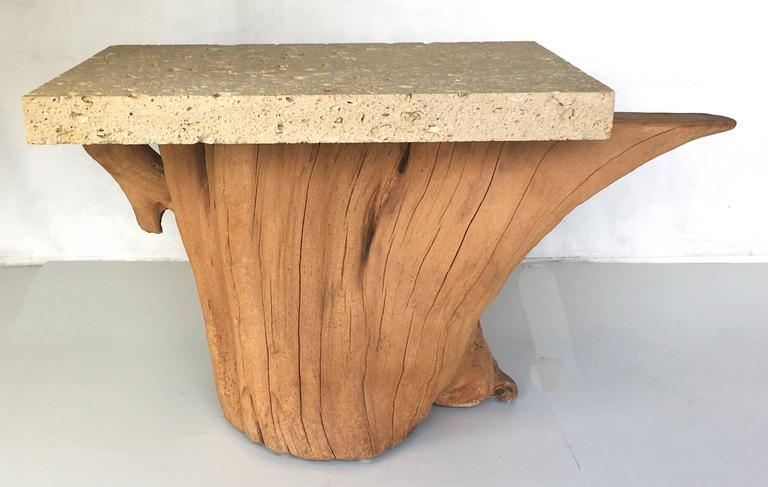 Pair of Iconic Fossil Stone Side Tables by Michael Taylor 4