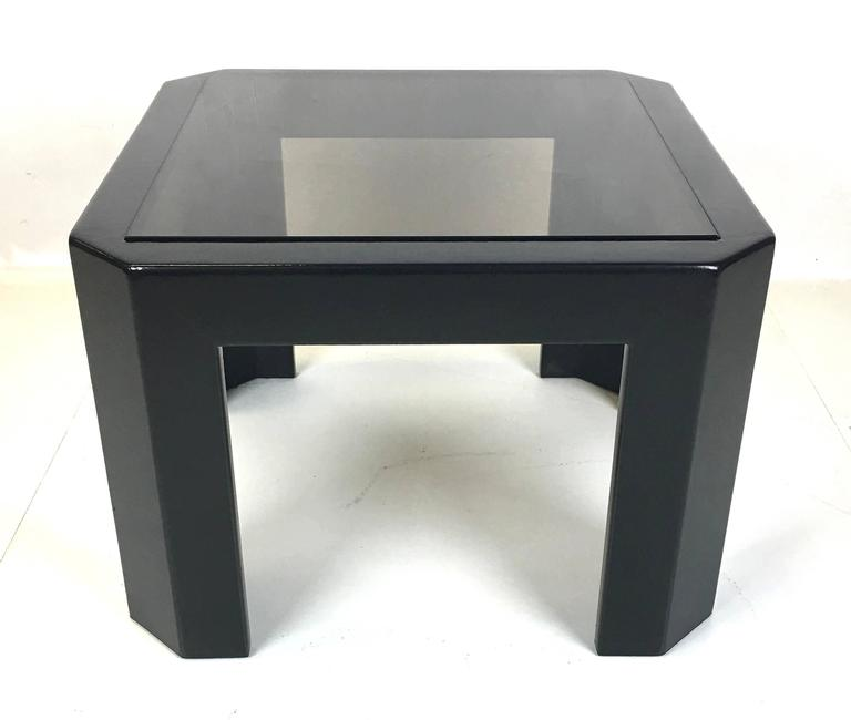 Mid-Century Modern Black Snakeskin Side Table by Ron Seff For Sale