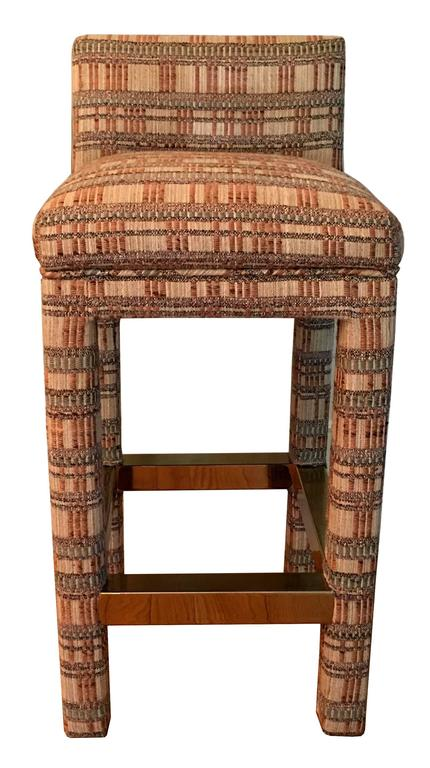 Incredible Pair Of Parsons Style Bar Stools For Sale At