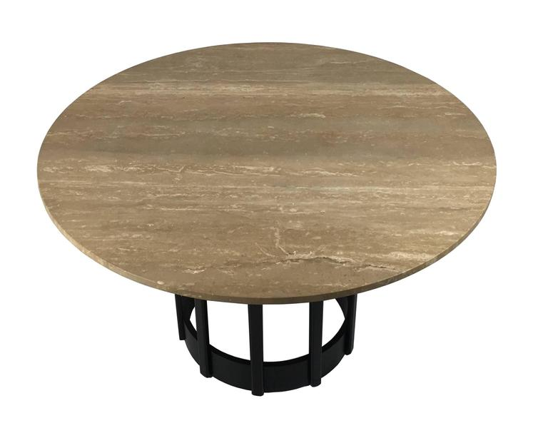 Ebonized Walnut Dining Table with Travertine top 3