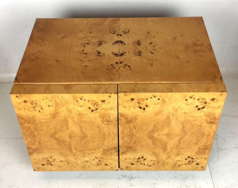 Pair of Olive Burl Nightstands by Lane, in the style of Milo Baughman 5