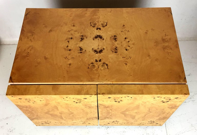 Pair of Olive Burl Nightstands by Lane, in the style of Milo Baughman 7
