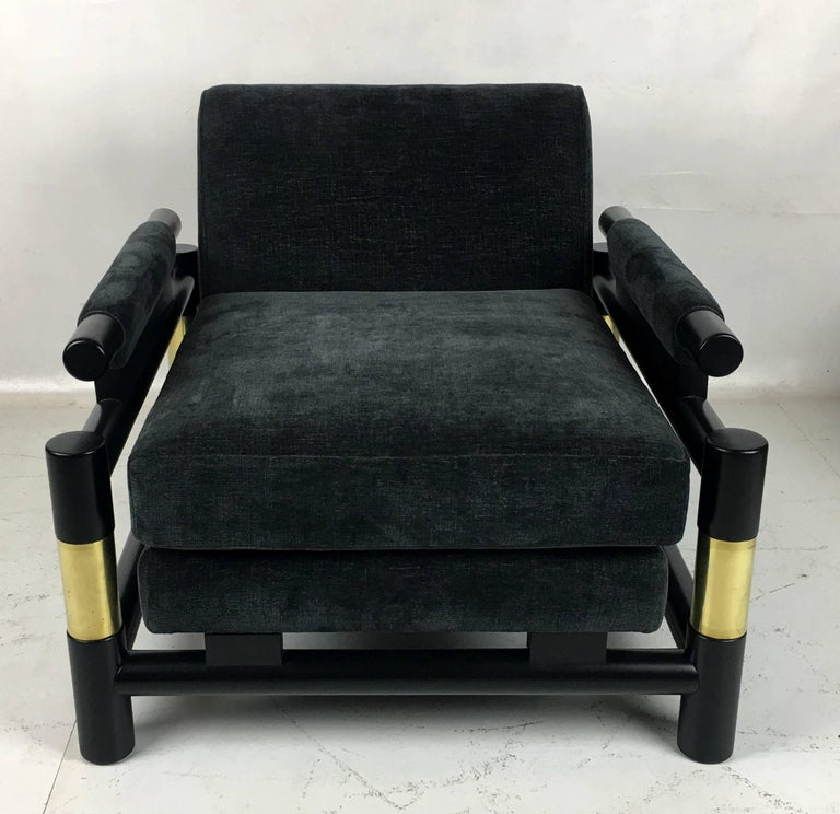 Pair of Ebonized Dowel and Brass Frame Lounge Chairs In Excellent Condition For Sale In San Leandro, CA