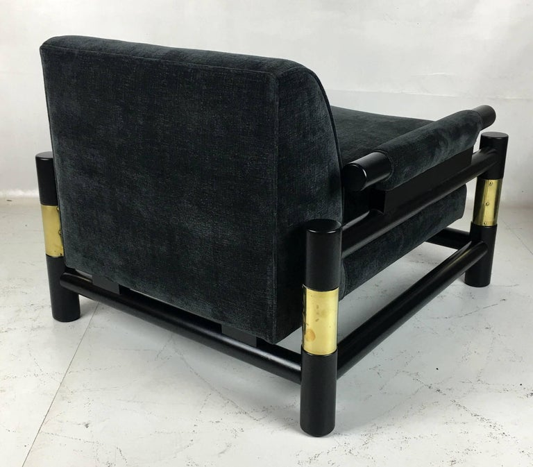 Pair of Ebonized Dowel and Brass Frame Lounge Chairs For Sale 2