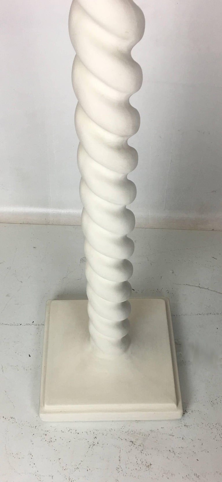 Pair of Finished Plaster Spiral Floor Lamps by Michael Taylor 4