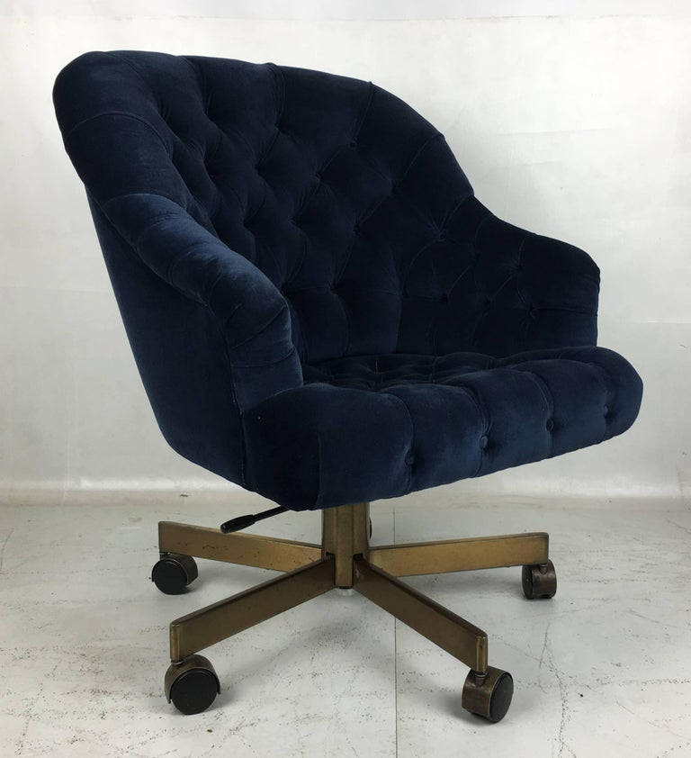 Modern Tufted Velvet Executive Swivel Chair by Edward Wormley for Dunbar For Sale